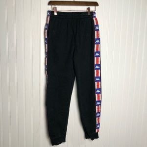Kappa side logo black high rise joggers